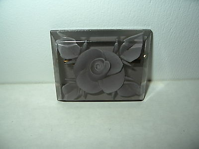 Vintage Reverse Carved White Rose & Smoky Gray Plastic Lucite Flower Brooch Pin