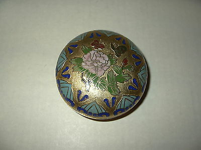 Vintage Gold With Flowers & Butterflies Cloisonne Round Shaped Trinket Box