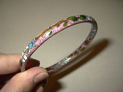 Vintage Asian Chinese Cloisonne Pink Enamel With Flowers Bangle Bracelet
