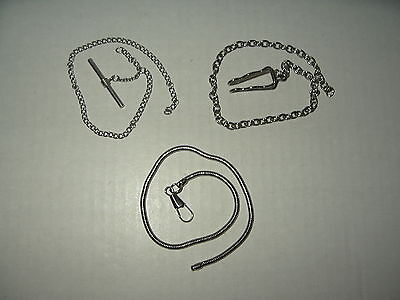 3 Short Vintage Silvertone Pocket Watch Chains (3 Different Chain Links)