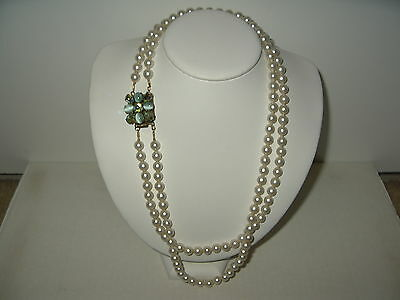 Vintage Estate Unsigned Fancy Green Oval Crystal Clasp & 2 Strand Pearl Necklace
