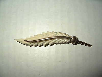 Vintage Victorian Gold Filled Faux Bone Celluloid Leaf Brooch Pin - C Clasp