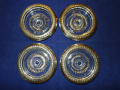Vintage Sterling Silver and Glass Coaster Set of 4