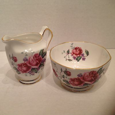 Tuscan Bone China Pink Cabbage Roses Creamer and Sugar Bowl England