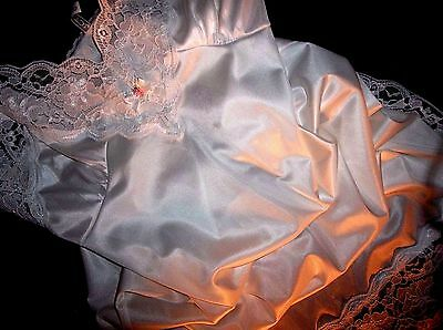 Vtg Silky Hollywood Wide French Lace Pin Up Pinch Pleat Bodice Dress Slip Gown