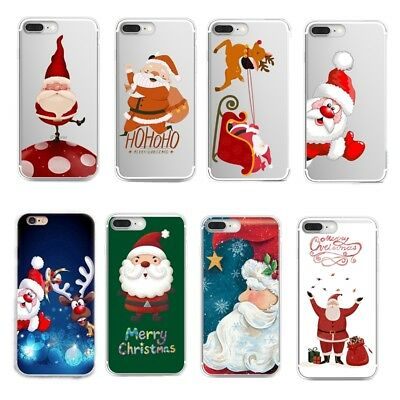 Christmas Ultra Slim Rubber Soft TPU Silicone Back Case Cover for iPhone Huawei