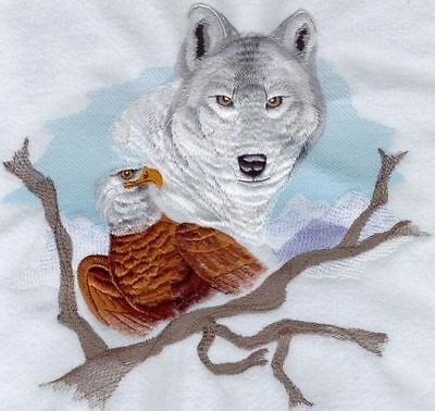 """Wolf & Eagle, Wolves, Bird of PreyEmbroidered Patch 10.4 """"x 10"""""""