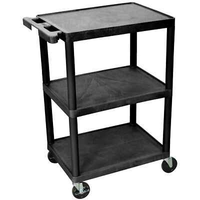 New Durable Home Office 3 Tier Shelf Black Metal Storage Utility Rolling Cart