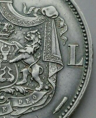 Romania 5 Lei 1883B. KM#17.1 .900 Silver Crown coin. Carol I. 6 Stars on edge.