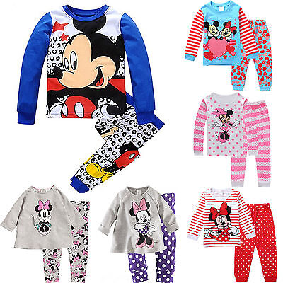 Cute Minnie Mickey Mouse Kids Girls Boys Nightwear Pajamas Set Sleepwear Outfits