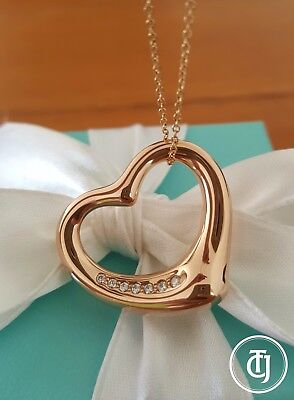 Tiffany & Co 'Large' Elsa Peretti 18ct Rose Gold/Diamond Necklace/Pendant $4900