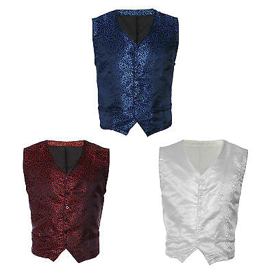 Mens Vintage Patterned Tuxedo Waistcoat Slim Fit Swirl Formal Cocktail Vest