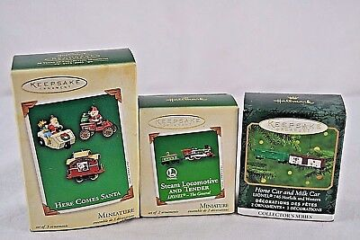 Hallmark Keepsake Ornament Set of 3 Mini Miscellaneous Train Ornaments