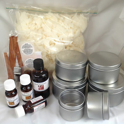 Candle making kit, WOODEN WICKS 800 gms soy wax,travel tins & instructions