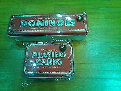playing cards in tin..dominos in tin brand new