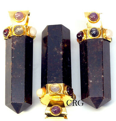 Gold Plated Thick Garnet Pencil Point Pendant w/ 7 Stones (TH2DG)
