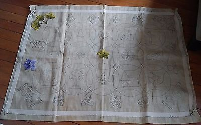 Vtg rug canvas canada centennial 1867-1967 hand hooked started no yarn 39x52""