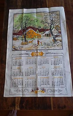 Vtg Currier & Ives linen calendar tea towel Returning to the Farm 1987