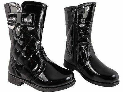 Girls 3/4 soft Black Patent Boots Zip Up Quilted Smart Shiny Bow Detail