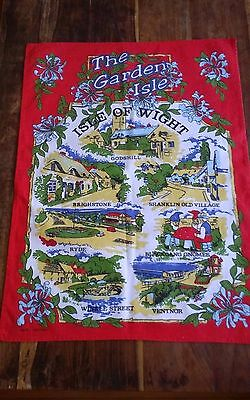 Vtg cotton tea towel Isle of Wight Garden Isle England gnomes red border