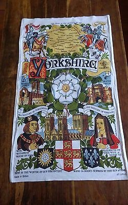 Vtg cotton tea towel Yorkshire War of the Roses made in Britain
