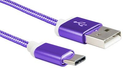 For LG G6 USB Type C Data Sync Fast Charger Charging Cable Purple Braided Cord