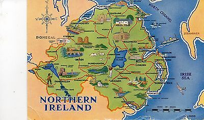 postcard  Northern Ireland map    postedValentine's
