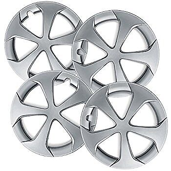 Wheel Covers Hubcaps New Set Of 4 Silver Painted 15 Inch 7 Slanted