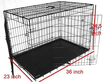 """LARGE 36"""" Dog Cage Crate Puppy Large Pet Carrier Training Folding Metal Cage"""