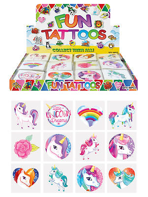 TEMPORARY TATTOOS Kids 28 Assorted Designs Party Filler Gifts UNICORN Halloween