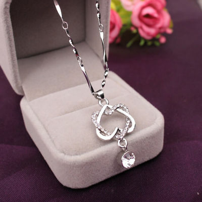 Fashion 925 Silver Plated Women Double Heart Pendant Necklace Chain Jewelry POP