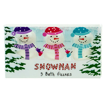 Snowman Christmas Bath Fizzers 3 Pack Soap Bombs Xmas Gift Set Stocking Filler