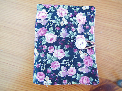New Sewing Needle Case With Six Felt Leaves Black Floral Fabric