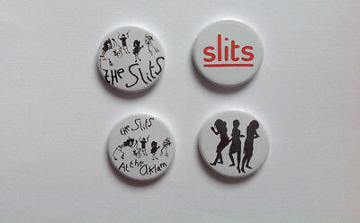 Four NEW REPRODUCTION The Slits Badges [25mm 1inch] Punk The Raincoats