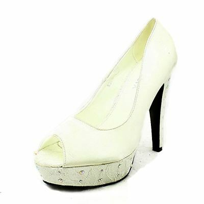 Ivory satin diamante studded high heel lace platform shoes