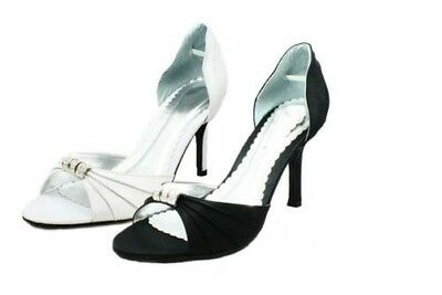 Ladies Satin Open middle peep toe high heel party shoes with diamante detail