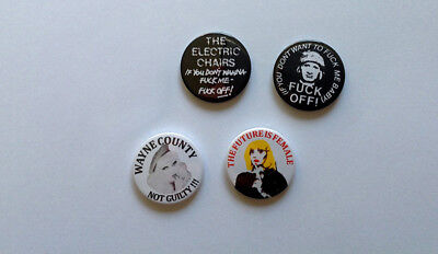 Four REPRODUCTION Jayne County Wayne County Electric Chairs Badges [25mm 1inch]