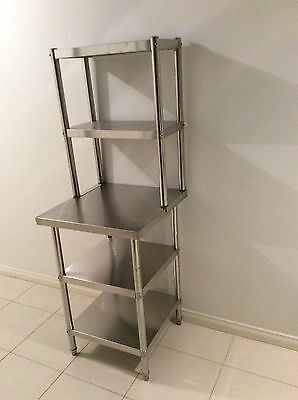 New Stainless Steel Bench with Over-shelving 600 x 600 x 900 x 300 x 780 mm