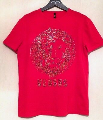 844c7ff1d49d4b Versace Versus by Gianni Versace Lion Stud Multicolor Head Red T-Shirt Sz:S
