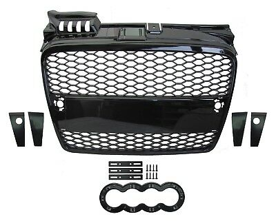 Gloss Black Front Grille Audi A4 Honeycomb mesh 2005-08 RS4 estate saloon B7