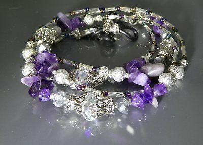 Spectacle Glasses Eyewear Beaded Chain Holder Silver Amethyst Gemstone (S1800)