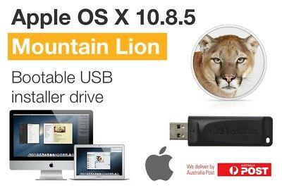 Apple Mac OS X 10.8.5 - Mountain Lion Bootable 8GB USB installer drive
