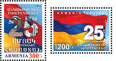 Armenia MNH** 2016 25th Anniversary of the Independence of Armenia 2 stamps NEW