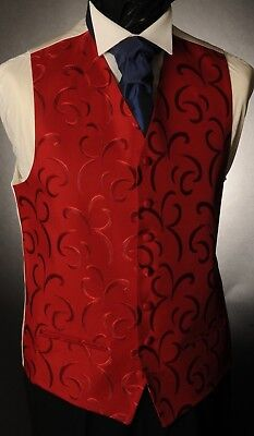 Cw26. Mens/boys Deep Burgundy Crescent Waistcoat/dress/ Suit/formal/wedding