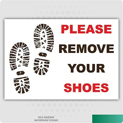 Please Remove Your Shoes Self Adhesive Stickers Signs