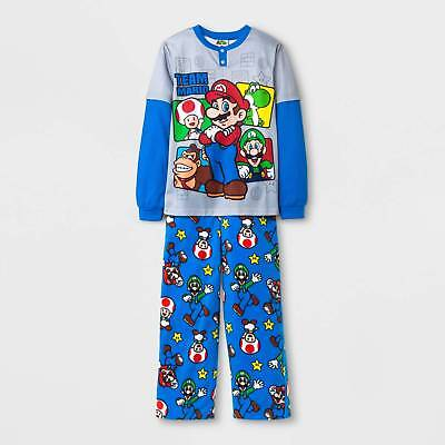 Boy's Nintendo Of America Mario Pajama Set - Grey