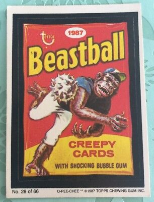 Wacky Packages 1987 Topps Beastball Creepy Cards Card #28 OPC O-PEE-CHEE