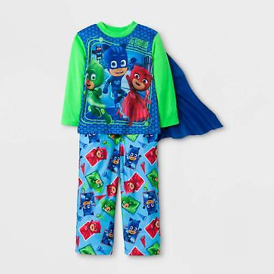 Toddler Boys' PJ Masks 2pc Long Sleeve Pajama Set with Cape - Green/Blue