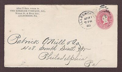 mjstampshobby 1900 US Famous The Koehler Company Ltd Vintage Cover Used (Lot4796