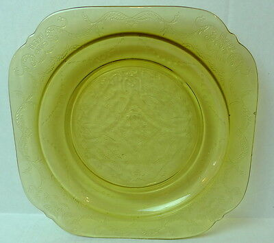 Madrid Amber Glass Salad Plate Federal  Bicentennial Recollection 1976